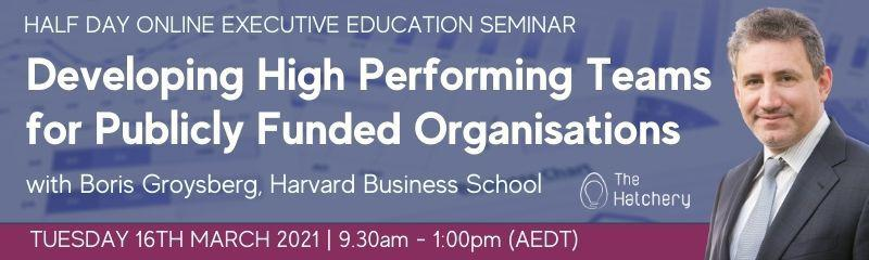 Developing High Performing Teams for Publicly Funded Organisations